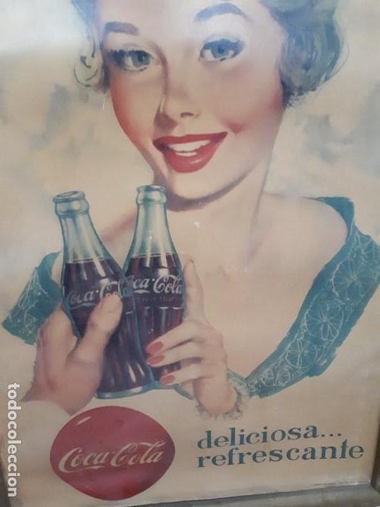Carteles Publicitarios: Cartel Coca-Cola Español Años 50s. Six Barral. Cartón. Auténtico. Marco original. Super difícil - Foto 2 - 138771394