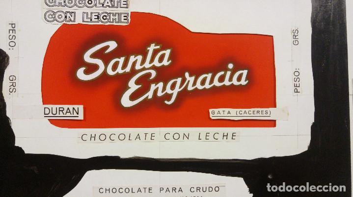 Carteles Publicitarios: CHOCOLATE SANTA ENGRACIA. GATA, CACERES. ORIGINAL PINTADO A MANO PRUEBA IMPRENTA - Foto 3 - 138796126