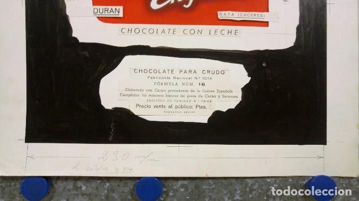 Carteles Publicitarios: CHOCOLATE SANTA ENGRACIA. GATA, CACERES. ORIGINAL PINTADO A MANO PRUEBA IMPRENTA - Foto 4 - 138796126