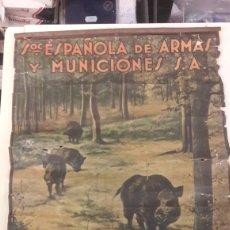 Carteles Publicitarios: CARTEL SOC.ESPAÑOLA DE ARMAS Y MUNICIONES S.A EIBAR.GUIPUZCUA..... MADRID VALENCIA. Lote 139896552
