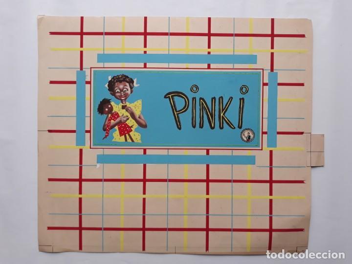 Carteles Publicitarios: CARTEL PUBLICITARIO ETIQUETA ENVOLTORIO CHOCOLATES PINKI, PINTADO A MANO PUBLICIDAD PINTURA ORIGINAL - Foto 2 - 140307922