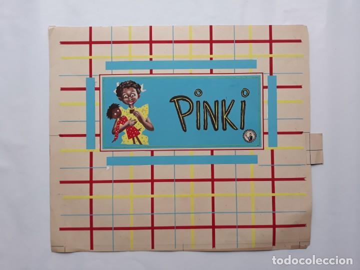 Carteles Publicitarios: CARTEL PUBLICITARIO ETIQUETA ENVOLTORIO CHOCOLATES PINKI, PINTADO A MANO PUBLICIDAD PINTURA ORIGINAL - Foto 3 - 140307922