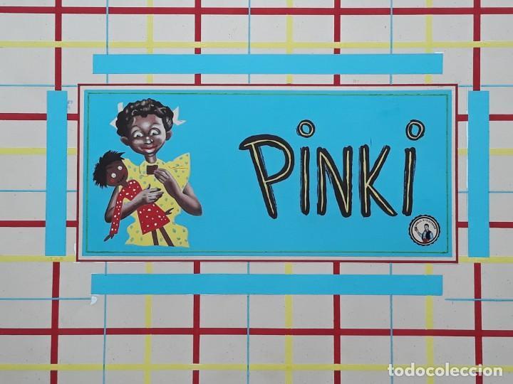 Carteles Publicitarios: CARTEL PUBLICITARIO ETIQUETA ENVOLTORIO CHOCOLATES PINKI, PINTADO A MANO PUBLICIDAD PINTURA ORIGINAL - Foto 4 - 140307922