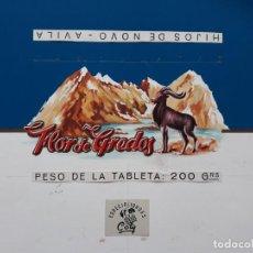 Carteles Publicitarios: CARTEL ETIQUETA ENVOLTORIO CHOCOLATES FLOR DE GREDOS AVILA, PINTADO A MANO PUBLICIDAD PINTURA ORIGI.. Lote 140308802