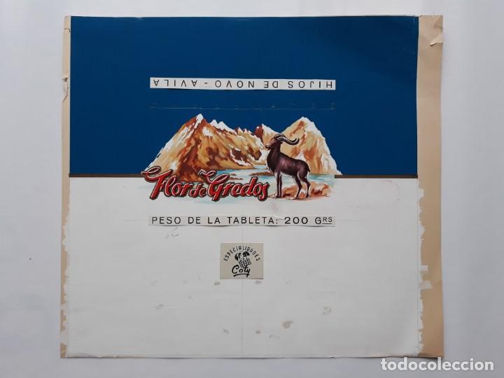 Carteles Publicitarios: CARTEL ETIQUETA ENVOLTORIO CHOCOLATES FLOR DE GREDOS AVILA, PINTADO A MANO PUBLICIDAD PINTURA ORIGI. - Foto 2 - 140308802