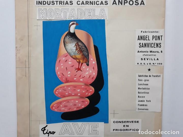CARTEL PUBLICITARIO MORTADELA TIPO AVE, PINTADO A MANO PUBLICIDAD PINTURA ORIGINAL (Coleccionismo - Carteles Gran Formato - Carteles Publicitarios)
