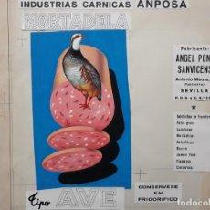 Carteles Publicitarios: CARTEL PUBLICITARIO MORTADELA TIPO AVE, PINTADO A MANO PUBLICIDAD PINTURA ORIGINAL. Lote 140310214