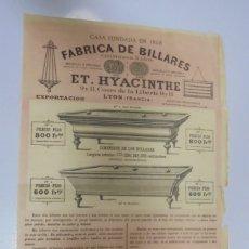 Carteles Publicitarios: CARTEL PUBLICITARIO. FABRICA DE BILLARES ET. HYACINTHE. LYON, FRANCIA. 28 X 43CM. 1885. VER. Lote 17958038