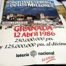 Carteles Publicitarios: GRANADA, 1986, CARTEL SORTEO LOTERIA NACIONAL, 42X59 CMS. Lote 143148510