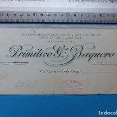 Carteles Publicitarios: ALCALA DE SAN JUAN, CIUDAD REAL - FABRICA DE ALCOHOLES, VINOS Y MISTELA - ORIGINAL PINTADO A MANO. Lote 143708802