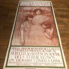 Carteles Publicitarios: CARTEL ORIGINAL DE RAMÓN CASAS. LA TUBERCULOSI. 1918. IMPRENTA THOMAS. 106 CM. X 55 CM.. Lote 144653226