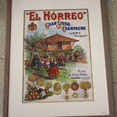 Carteles Publicitarios: CARTEL GRAN SIDRA CHAMPAGNE EL HORREO. HIJOS DE PABLO PEREZ. COLUNGA, ASTURIAS. CIRCA 1900. Lote 144934712