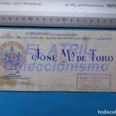 Carteles Publicitarios: LA PALMA, HUELVA - JOSE Mª DE TORO, FABRICA DE LICORES, ANISADOS - ORIGINAL PINTADO A MANO. Lote 147884738