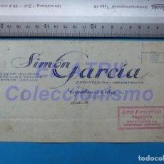 Carteles Publicitarios: VEGUILLINA DE ORBIGO, LEON - SIMON GARCIA, AZUCAR, ALUBIAS, PATATAS, PIENSOS ORIGINAL PINTADO A MANO. Lote 147889622