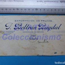 Carteles Publicitarios: GANDIA, VALENCIA - EXPORTACION DE FRUTAS NARANJAS BELTRAN BAYDAL - ORIGINAL PINTADO A MANO. Lote 147893914