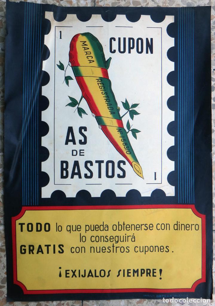 CARTEL PUBLICIDAD CUPON AS DE BASTOS, CARTA DE BARAJA O NAIPE , LITOGRAFIA , ORIGINAL (Coleccionismo - Carteles Gran Formato - Carteles Publicitarios)