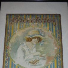 Carteles Publicitarios: ANTIGUO CARTON - CHOCOLATES E. JUNCOSA 1923 BARCELONA 47,5X34 CM. CARTEL ENMARCADO 65,5X46,5 CM . Lote 148421714