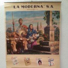 Carteles Publicitarios: CARTEL DE LA CIA. CIGARRERA LA MODERNA DE MONTERREY (MÉXICO) Y ULTRAMARINOS EL RETIRO DE 90 X 60 CMS. Lote 148602622
