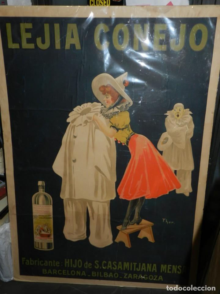CARTEL ORIGINAL - LEJIA CONEJO , FABRICANTE: HIJO DE S CASAMITJANA MENSA, ILUST. POR THOR , AÑOS 20 (Coleccionismo - Carteles Gran Formato - Carteles Publicitarios)