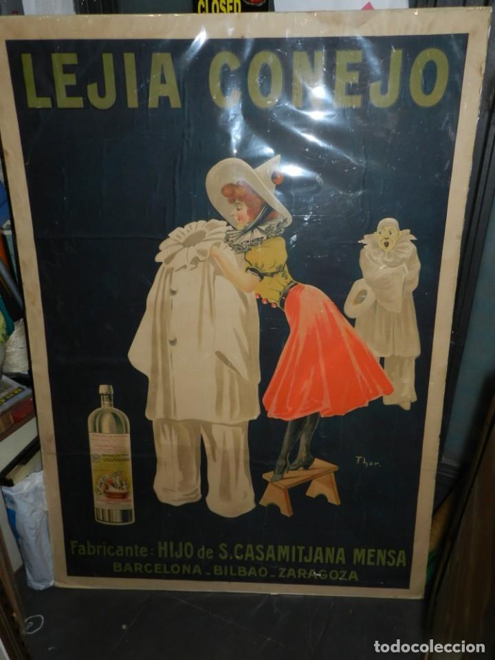 Carteles Publicitarios: CARTEL ORIGINAL - LEJIA CONEJO , FABRICANTE: HIJO DE S CASAMITJANA MENSA, ILUST. POR THOR , AÑOS 20 - Foto 2 - 150003926