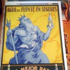 Carteles Publicitarios: CARTEL DE AGUA DE FUENTE EN SEGURES BENASAL, CASTELLON 1940. Lote 150083126