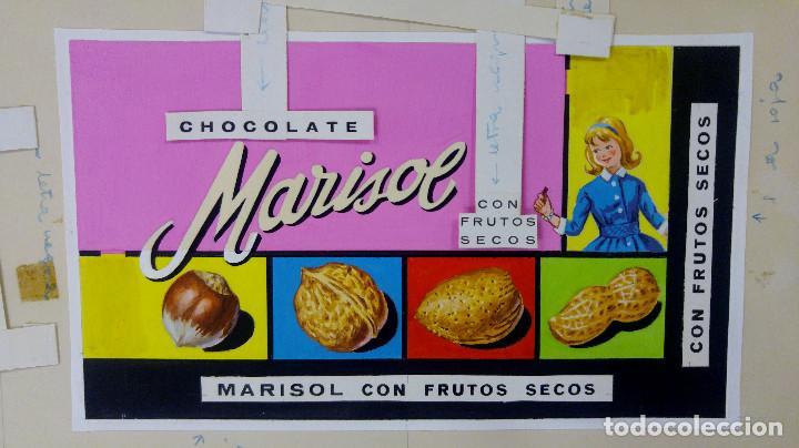 CHOCOLATE CON FRUTOS SECOS, MARISOL. ORIGINAL PINTADO A MANO, PRUEBA DE IMPRENTA. AÑOS 60 (Coleccionismo - Carteles Gran Formato - Carteles Publicitarios)