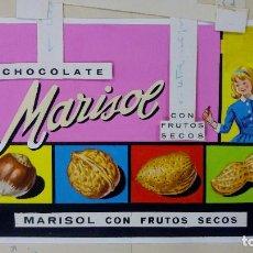 Carteles Publicitarios: CHOCOLATE CON FRUTOS SECOS, MARISOL. ORIGINAL PINTADO A MANO, PRUEBA DE IMPRENTA. AÑOS 60. Lote 153089838