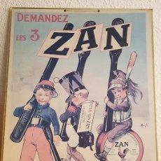 Carteles Publicitarios: ANTIGUO CARTEL CARTON PUBLICITARIO REGALIZ ZAN UZES GARD CARANT PARIS. Lote 153185794