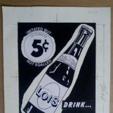 Carteles Publicitarios: LOIS - ALTON - JEANS - DRINK - ORIGINAL PINTADO A MANO, PARA LA IMPRENTA. Lote 153249650