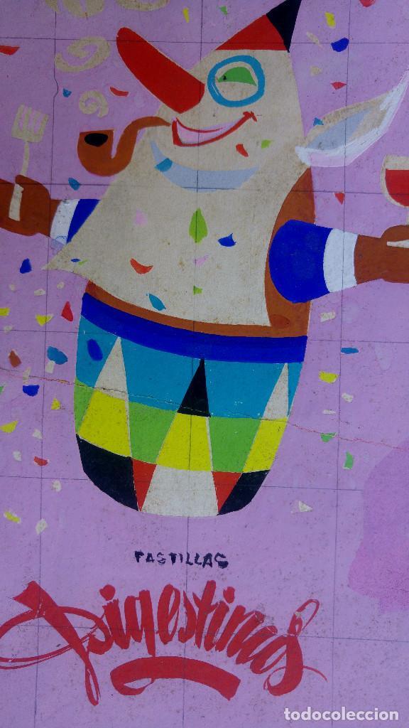 Carteles Publicitarios: PASTILLAS DIGESTIVAS, COMA BEBA FUME, ALIVIO ESTOMAGO - ORIGINAL PINTADO A MANO, PARA LA IMPRENTA - Foto 2 - 153250122