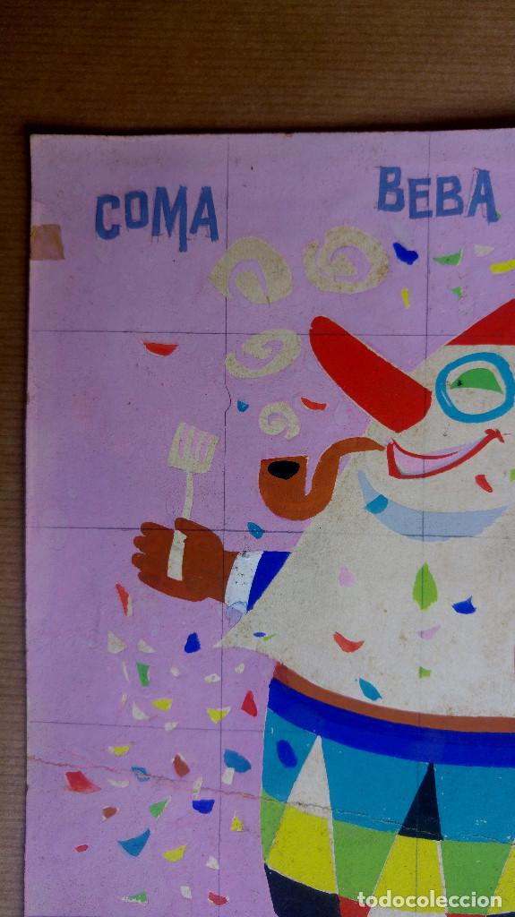 Carteles Publicitarios: PASTILLAS DIGESTIVAS, COMA BEBA FUME, ALIVIO ESTOMAGO - ORIGINAL PINTADO A MANO, PARA LA IMPRENTA - Foto 3 - 153250122