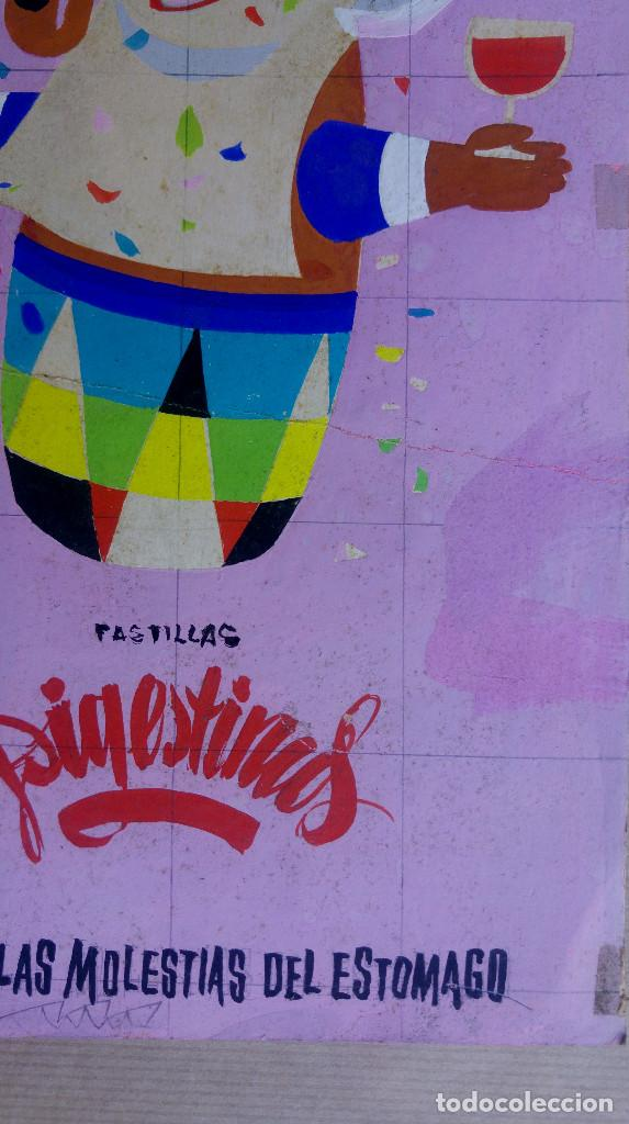 Carteles Publicitarios: PASTILLAS DIGESTIVAS, COMA BEBA FUME, ALIVIO ESTOMAGO - ORIGINAL PINTADO A MANO, PARA LA IMPRENTA - Foto 4 - 153250122