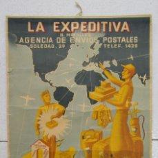 Carteles Publicitarios: CARTEL DE LA EXPEDITIVA. AGENCIA DE ENVÍOS POSTALES. PALMA DE MALLORCA, 1940-50. Lote 153536314