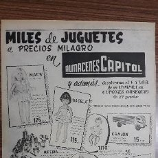 Carteles Publicitarios: RECORTE PUBLICITARIO. IDEAL PARA ENMARCAR. ALMACENES CAPITOL, MILES DE JUGUETES. Lote 153700026