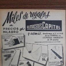 Carteles Publicitarios: RECORTE PUBLICITARIO. IDEAL PARA ENMARCAR. ALMACENES CAPITOL, MILES DE REGALOS. Lote 153700278