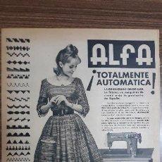 Carteles Publicitarios: RECORTE PUBLICITARIO. IDEAL PARA ENMARCAR. MAQUINA DE COSER ALFA. Lote 153757698