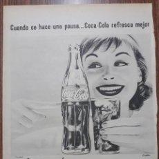 Carteles Publicitarios: RECORTE PUBLICITARIO. IDEAL PARA ENMARCAR. POR UN POCO MAS EL DOBLE DE COCA COLA. Lote 153797686