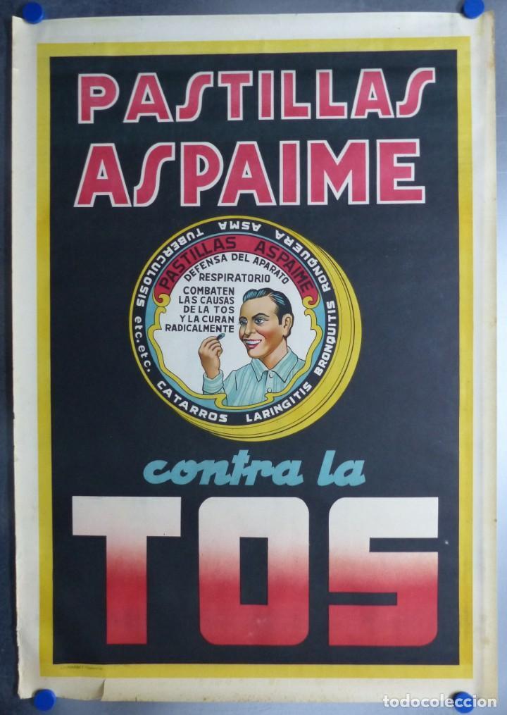 CARTEL PASTILLAS ASPAIME TOS (HOMBRE) - CARTEL LITOGRAFICO - AÑOS 1940 (Coleccionismo - Carteles Gran Formato - Carteles Publicitarios)
