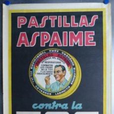 Carteles Publicitarios: CARTEL PASTILLAS ASPAIME TOS (HOMBRE) - CARTEL LITOGRAFICO - AÑOS 1940. Lote 154173338