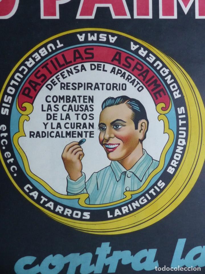 Carteles Publicitarios: Cartel PASTILLAS ASPAIME TOS (hombre) - CARTEL LITOGRAFICO - años 1940 - Foto 7 - 154173338