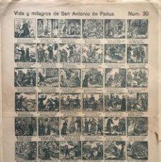Carteles Publicitarios: AUCA. VIDA Y MILAGROS DE SAN ANTONIO DE PADUA NÚM. 30. 45,3X32,8 CM. Lote 155273318