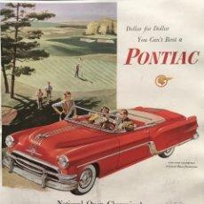 Carteles Publicitarios: 1954 PUBLICIDAD AUTOMÓVILES PONTIAC SOBRE CARTULINA NEGRA 32,3×45,8 CM. Lote 155287798