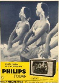 1962 Publicidad Philips sobre cartulina negra 32,3×45,8 cm