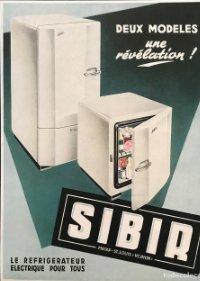 Publicidad electrodomésticos Sibir sobre cartulina negra 32,3×45,8 cm