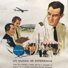 Carteles Publicitarios: 1960 PUBLICIDAD LÍNEAS AÉREAS PAN AMERICAN SOBRE CARTULINA NEGRA 32,3×45,8 CM. Lote 155289038