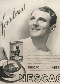 Publicidad Nescao Nestlé sobre cartulina negra 32,3×45,8 cm