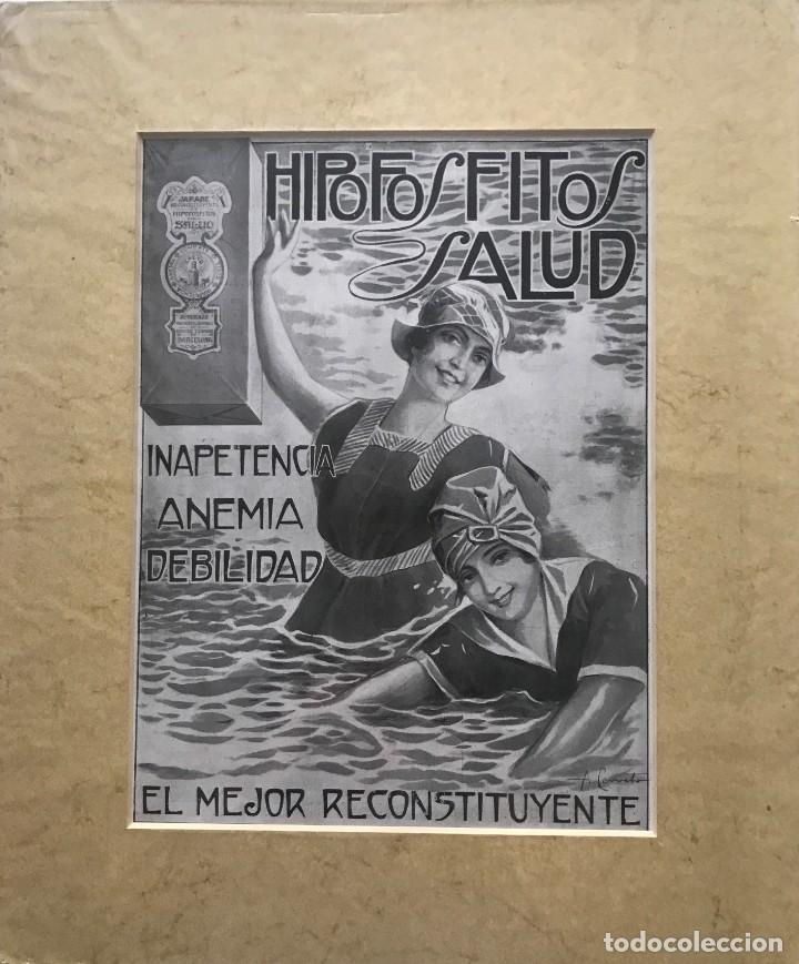Carteles Publicitarios: Publicidad Hipofosfitos Salud con passpartú biselado beige con aguas 34,8×41,8 cm - Foto 2 - 155291630