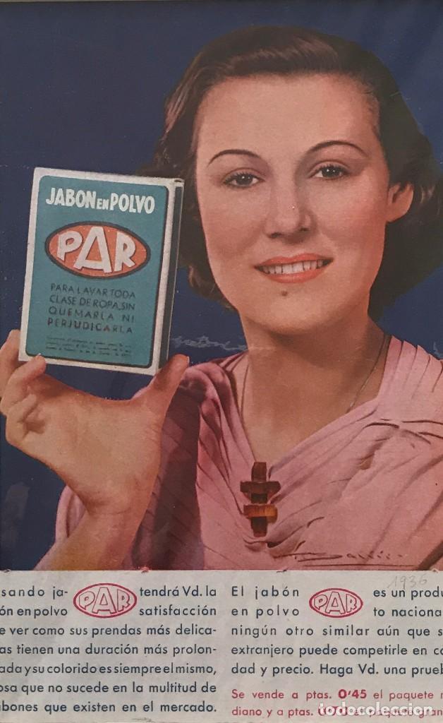 1936 PUBLICIDAD JABON EN POLVO PAR PASSPARTÚ BISELADO BEIGE 29,9×29,9 CM (Coleccionismo - Carteles Gran Formato - Carteles Publicitarios)
