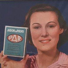 Carteles Publicitarios: 1936 PUBLICIDAD JABON EN POLVO PAR PASSPARTÚ BISELADO BEIGE 29,9×29,9 CM. Lote 155292486