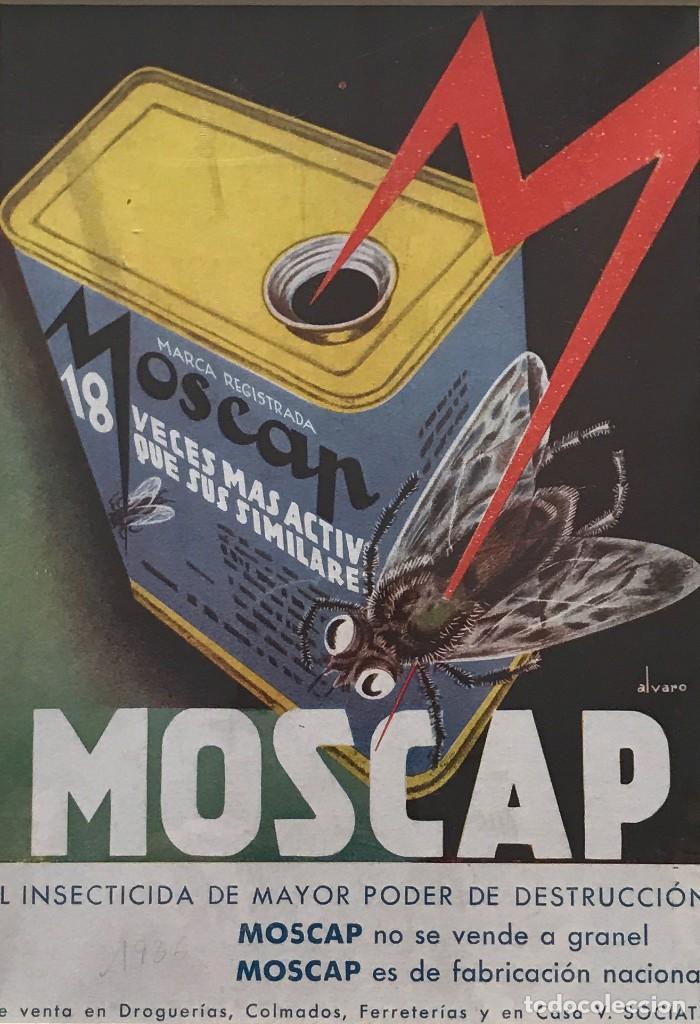1936 PUBLICIDAD INSECTICIDA MOSCAP PASSPARTÚ BISELADO BEIGE 29,9×29,9 CM (Coleccionismo - Carteles Gran Formato - Carteles Publicitarios)
